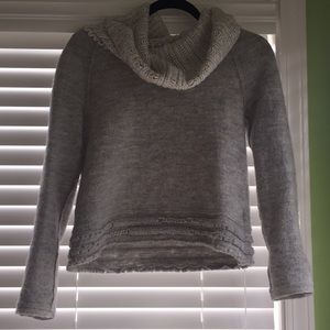 Anthropologie grey cropped sweater with large neck